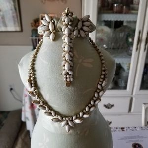 Vintage Signed Hobe' Milk Glass Jewelry Set